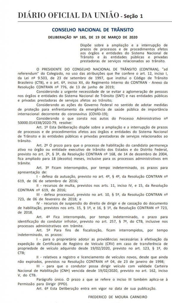 Notícias - Coronavírus: Contran suspende prazo da CNH e de outros serviços - Recorra Aqui Blog